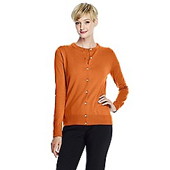 Lands' End - Orange women's regular long sleeve supima fine gauge cardigan