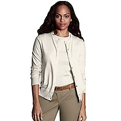 Lands' End - Cream women's regular long sleeve supima fine gauge cardigan