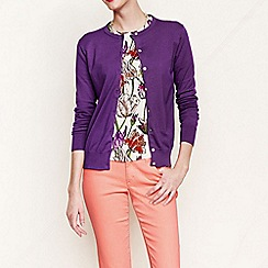 Lands' End - Purple women's regular long sleeve supima fine gauge cardigan