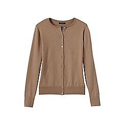 Lands' End - Beige women's regular long sleeve supima fine gauge cardigan