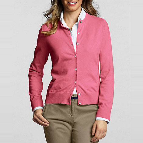 Lands+ End - Pink fine gauge cardigan