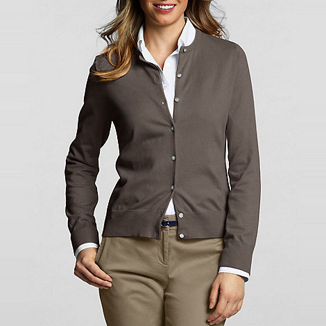 Lands+ End - Brown Petite Fine Gauge Cardigan