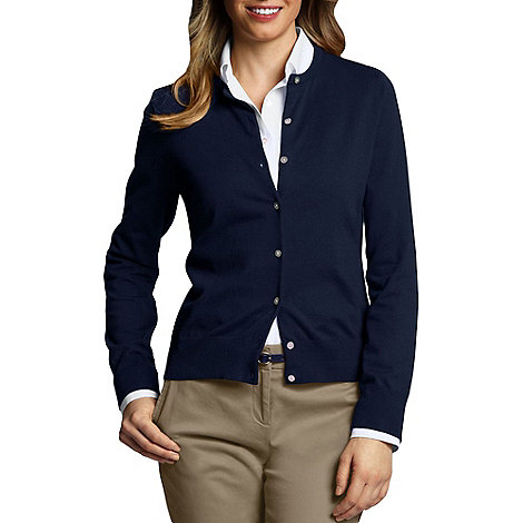 Lands+ End - Blue Petite Fine Gauge Cardigan