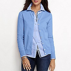 Lands' End - Blue women's long sleeve supima fine gauge cardigan