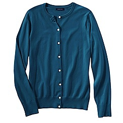Lands' End - Blue women's long sleeve supima fine gauge cardigan