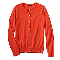 Lands' End - Orange women's long sleeve supima fine gauge cardigan