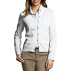 Lands' End - White Petite Fine Gauge Cardigan