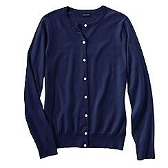 Lands' End - Blue women's plus long sleeve supima fine gauge cardigan