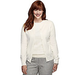 Lands' End - Cream women's long sleeve supima fine gauge cardigan