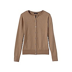 Lands' End - Beige women's plus long sleeve supima fine gauge cardigan