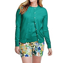 Lands' End - Green women's plus long sleeve supima fine gauge cardigan