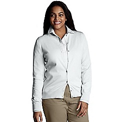 Lands' End - White women's long sleeve supima fine gauge cardigan
