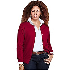 Lands' End - Red women's plus long sleeve supima fine gauge cardigan
