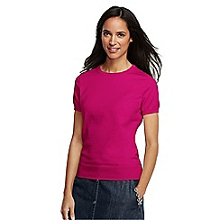 Lands' End - Pink women's regular supima fine gauge short sleeve crew neck