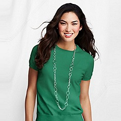 Lands' End - Green fine gauge crew neck