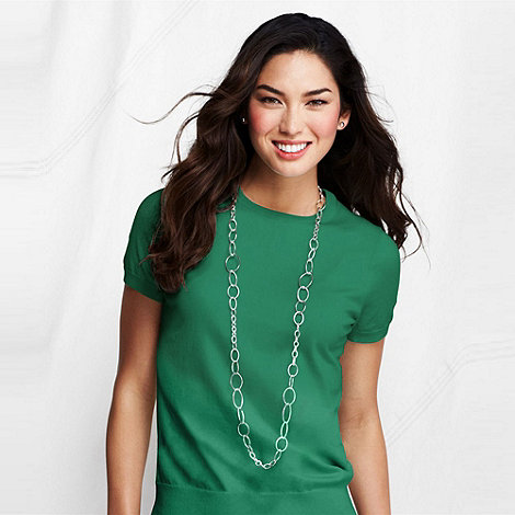 Lands+ End - Green fine gauge crew neck