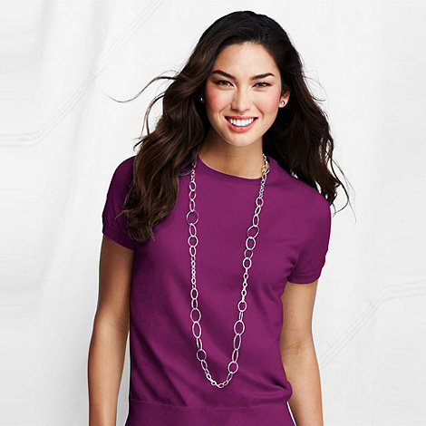 Lands+ End - Purple fine gauge crew neck
