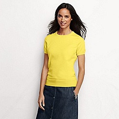Lands' End - Yellow women's regular supima fine gauge short sleeve crew neck