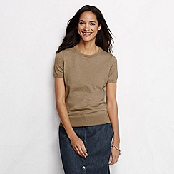 Lands' End - Beige women's regular supima fine gauge short sleeve crew neck