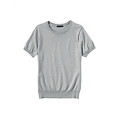 Lands' End - Grey women's regular supima fine gauge short sleeve crew neck