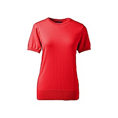 Lands' End - Red regular supima fine gauge short sleeve crew neck