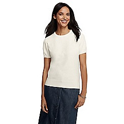 Lands' End - Cream women's regular supima fine gauge short sleeve crew neck