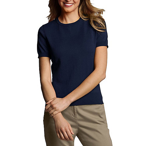 Lands+ End - Blue plus fine gauge crew neck