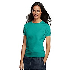 Lands' End - Green women's regular supima fine gauge short sleeve crew neck