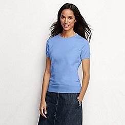 Lands' End - Blue women's regular supima fine gauge short sleeve crew neck