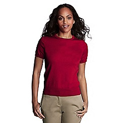 Lands' End - Red women's regular supima fine gauge short sleeve crew neck