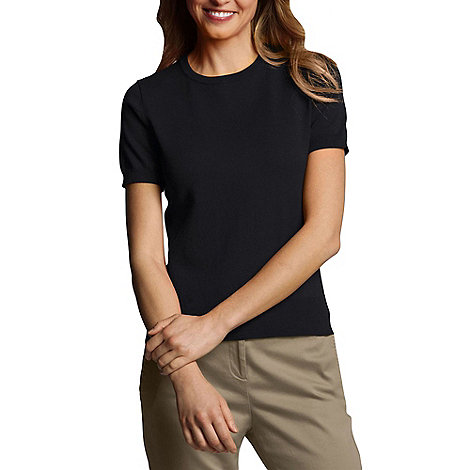 Lands+ End - Black Petite Fine Gauge Crew Neck