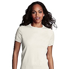 Lands' End - Cream petite fine gauge crew neck