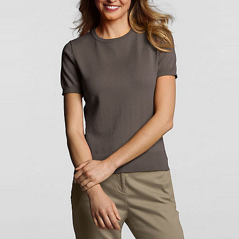 Lands+ End - Brown Petite Fine Gauge Crew Neck