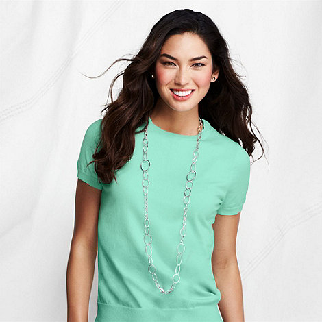 Lands+ End - Green petite fine gauge crew neck