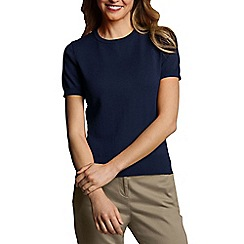 Lands' End - Blue Petite Fine Gauge Crew Neck