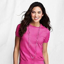 Lands' End - Pink petite fine gauge crew neck