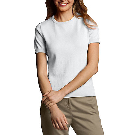 Lands+ End - White Petite Fine Gauge Crew Neck