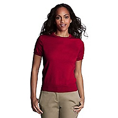 Lands' End - Red petite fine gauge crew neck