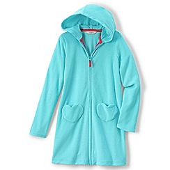 Lands' End - Girls Toddler Blue hooded towelling cover-up