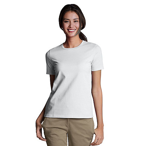 Lands+ End - White Petite Crew Neck Tee