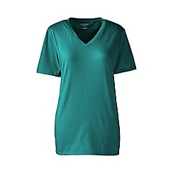 Lands' End - Green supima short sleeve v-neck tee