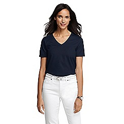 Lands' End - Blue women's regular supima short sleeve v-neck tee