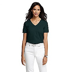 Lands' End - Green women's regular supima short sleeve v-neck tee