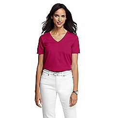 Lands' End - Pink women's regular supima short sleeve v-neck tee