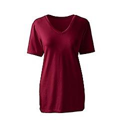 Lands' End - Red supima short sleeves v-neck t-shirt