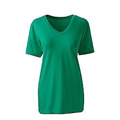 Lands' End - Green supima short sleeves v-neck t-shirt