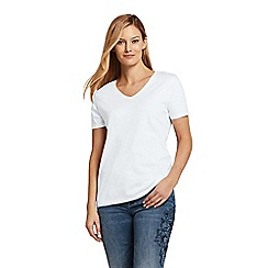 Lands' End - White Women'S Supima Short Sleeve V-Neck