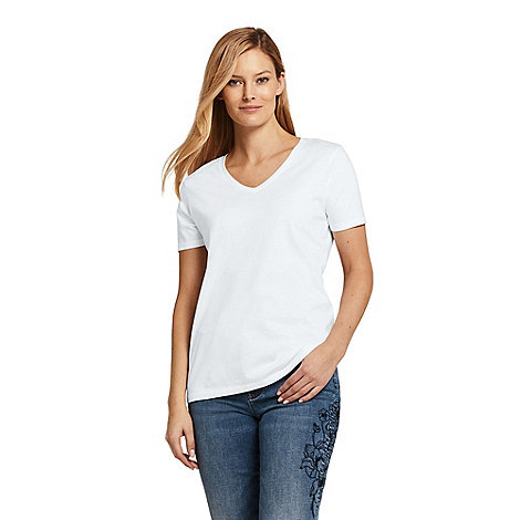 Lands+ End - White Women+S Supima Short Sleeve V-Neck