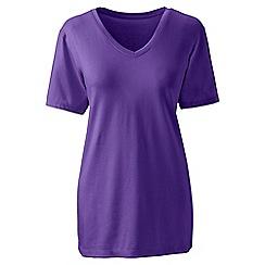 Lands' End - Purple petite supima short sleeve v-neck tee