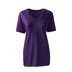 Lands' End - Purple petite supima short sleeves v-neck t-shirt